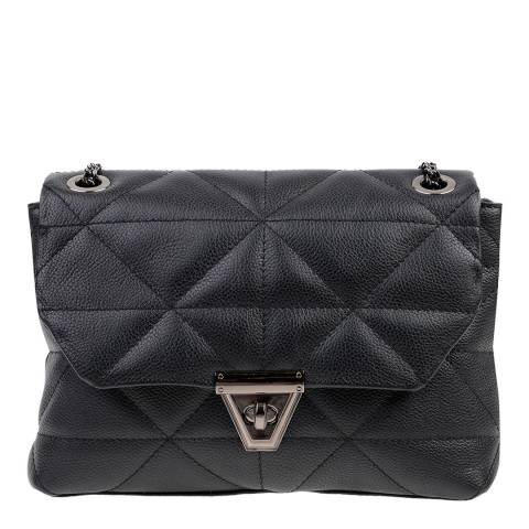 Carla Ferreri Black Leather Shoulder/Crossbody Bag