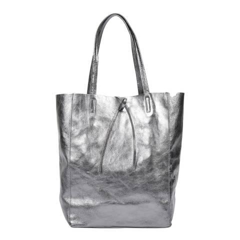 Carla Ferreri Metallic Grey Leather Shoulder Bag
