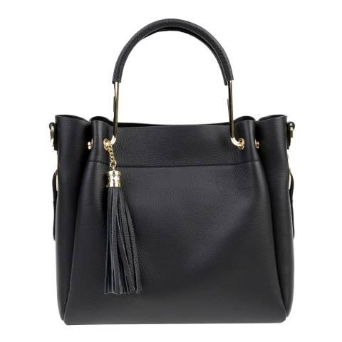 Carla Ferreri Black Leather Top Handle Bag