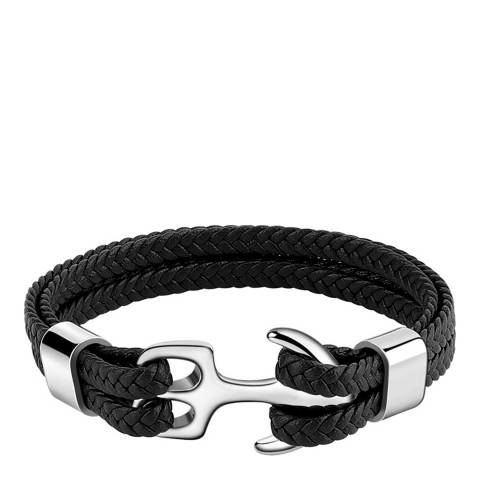 Stephen Oliver Silver Plated Anchor Multi Leather Bracelet