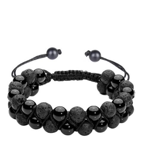Stephen Oliver Black Onyx &Lava Adjustable Bracelet