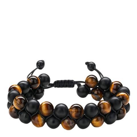 Stephen Oliver Matte Black Onyx & Brown Tiger Eye Bracelet