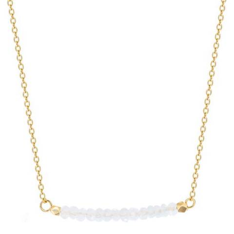 Liv Oliver 18K Gold Plated Clear Quartz Bar Necklace