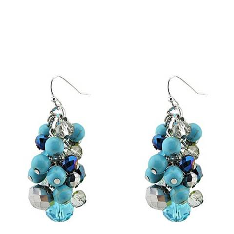 Liv Oliver Silver Plated Multi Turquoise Cluster Earrings