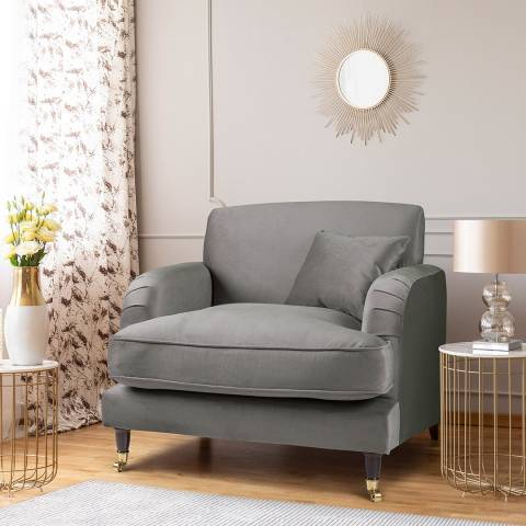 The Great Sofa Company The Piper Armchair, Velvet Grey