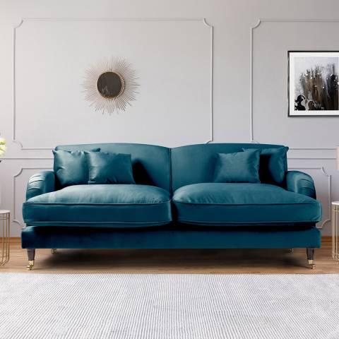 The Great Sofa Company The Piper 3 Seater Sofa, Velvet Peacock