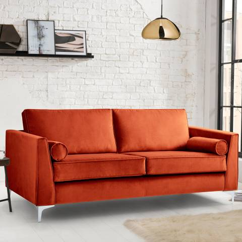 The Great Sofa Company The Icon 3 Seater Sofa, Velvet Apricot