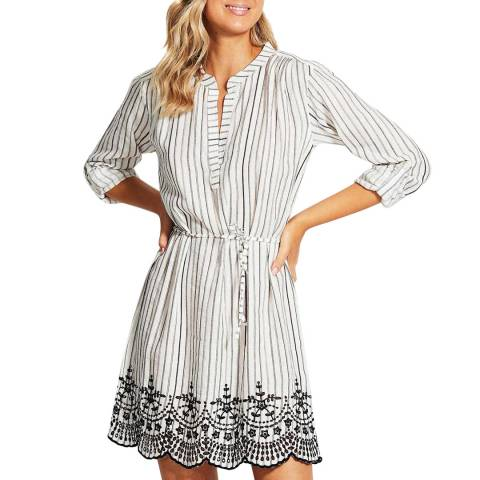 Seafolly Black Stripe Broderie Cover Up