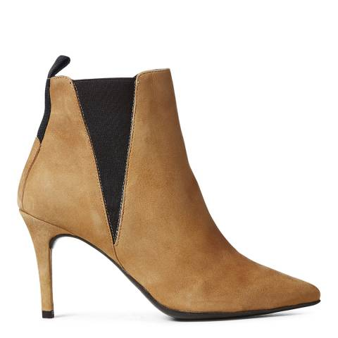 Elodie Taupe Suede Asun High Heel Chelsea Boot