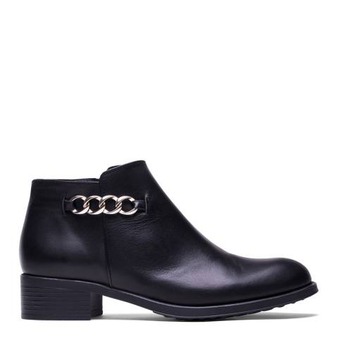 Elodie Black Leather Cleo Low Cut Ankle Boot