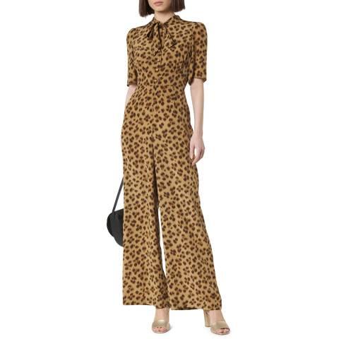 L K Bennett Animal Print Marmont Silk Jumpsuit
