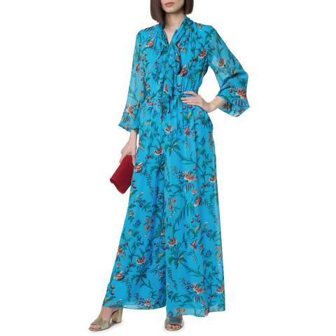 L K Bennett Blue Wylie Silk Floral Jumpsuit
