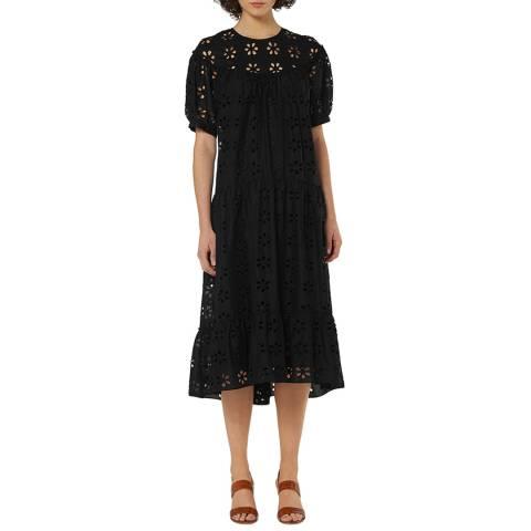 L K Bennett Black Rego Broderie Cotton Dress
