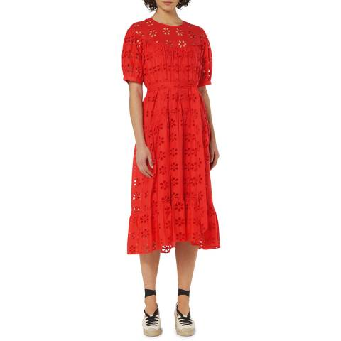 L K Bennett Red Rego Broderie Cotton Dress