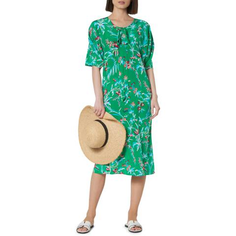 L K Bennett Green Estella Silk Dress
