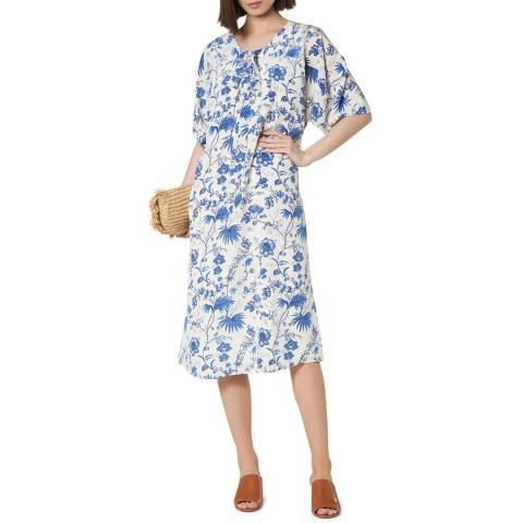 L K Bennett White/Blue Estella Silk Dress