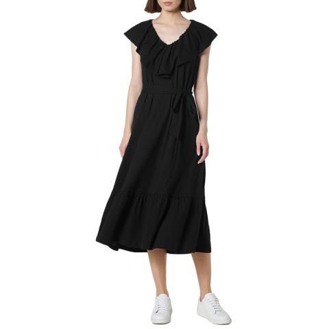 L K Bennett Black Cotton Blend Margret Dress