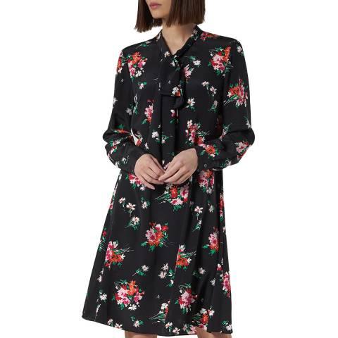 L K Bennett Black/Multi Lottie Silk Dress