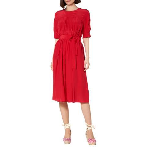 L K Bennett Red Reina Silk Blend Dress