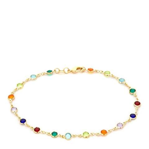 Liv Oliver 18K Gold Plated Multi Color Gemstone Bracelet