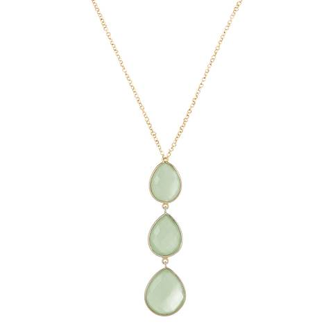 Liv Oliver 18K Gold Plated Chalcedony Multi Pear Drop Necklace