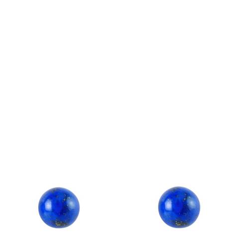 Liv Oliver Sterling Silver Plated Lapis Stud Earrings