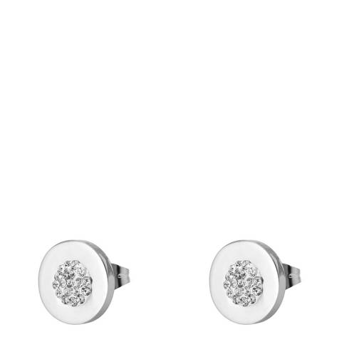 Liv Oliver Silver Plated Pave Disc Stud Earrings