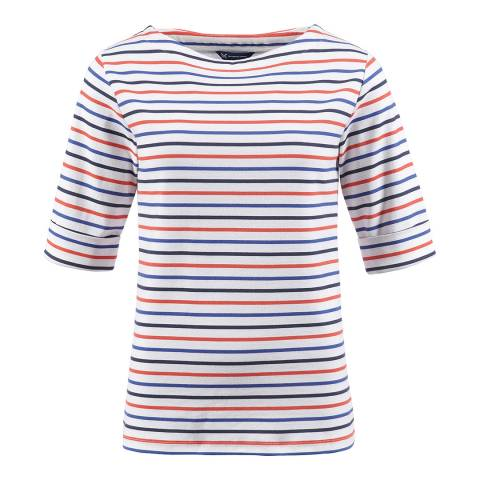 Crew Clothing Navy/Red Orchid Stripe Cotton Top