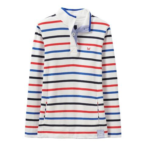 Crew Clothing White/Navy Padstow Cotton Top