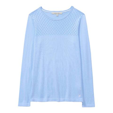 Crew Clothing Light Blue Lace Stitch Top