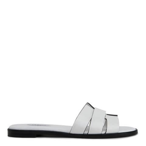 L K Bennett White Leather Crissy Flat Sandals