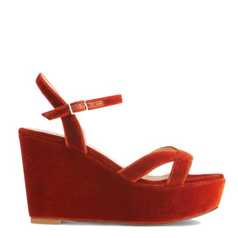 L K Bennett Burnt Orange Velvet Henuita Formal Sandals