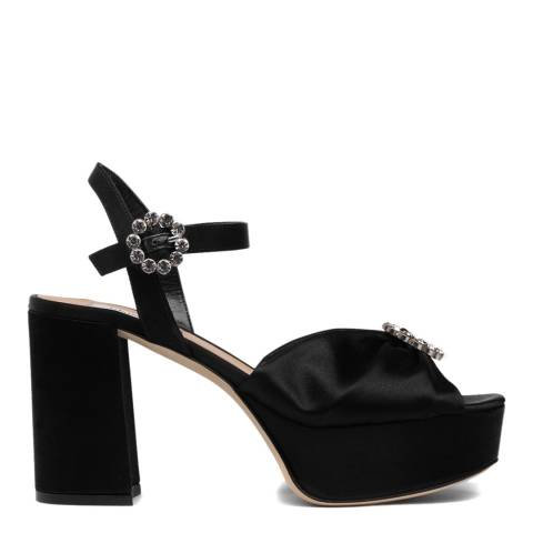 L K Bennett Black Satin Eline Formal Sandals