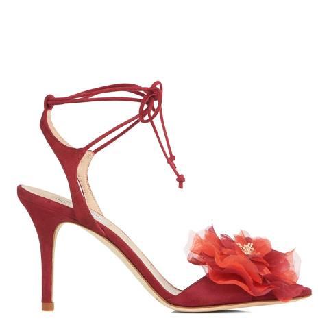L K Bennett Poppy Suede Scarlet Formal Sandals