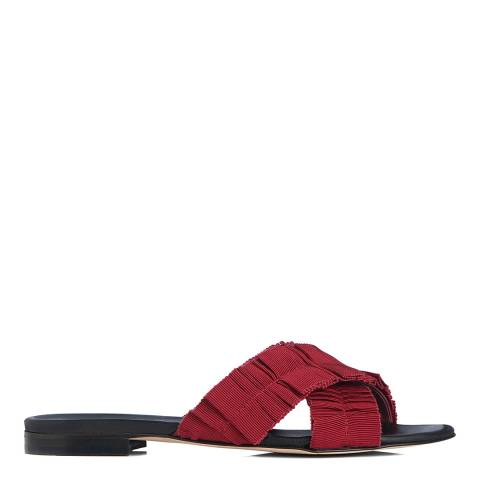 L K Bennett Poppy Red Leather Dottie Flat Sandals
