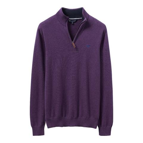 Crew Clothing Purple Classic 1/2 Zip Jumper