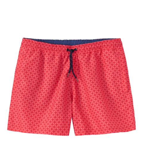 Crew Clothing Spiced Coral Geo Print Swim Short