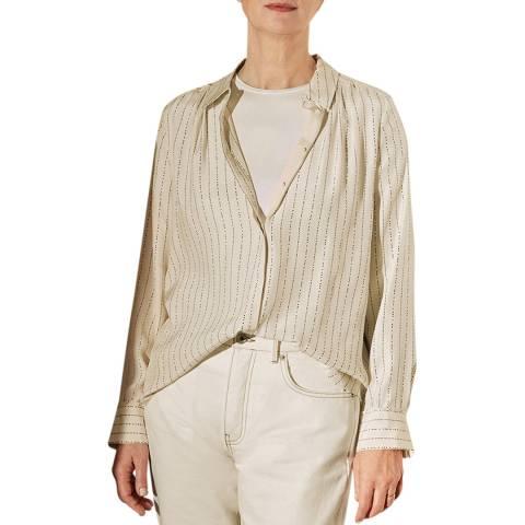 Jigsaw Beige Linear Dash Silk Shirt