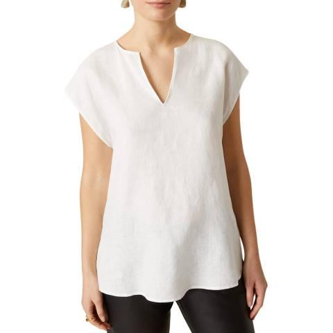 Jigsaw White Linen Cap Sleeve T-Shirt