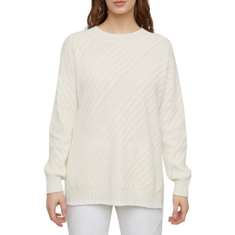 Jigsaw Ivory Textured Slouchy Wool/Cotton Jumper