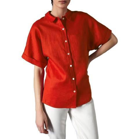 Jigsaw Red Short Sleeve Linen Shirt