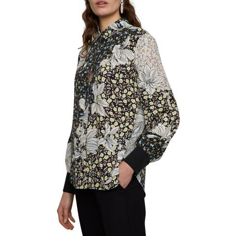 Jigsaw Black Floral Collage Silk Blouse
