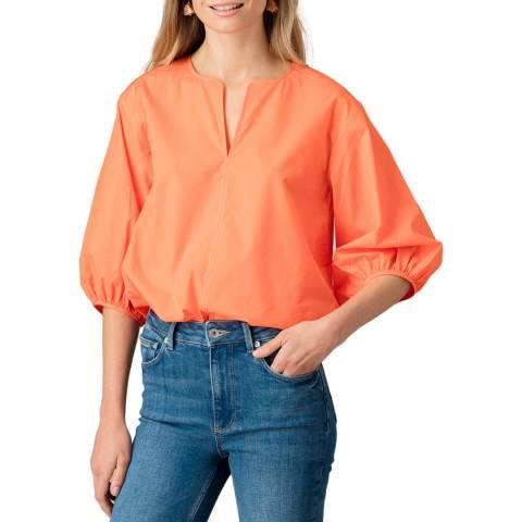 Jigsaw Orange Cotton Poplin Sleeve Detail Top
