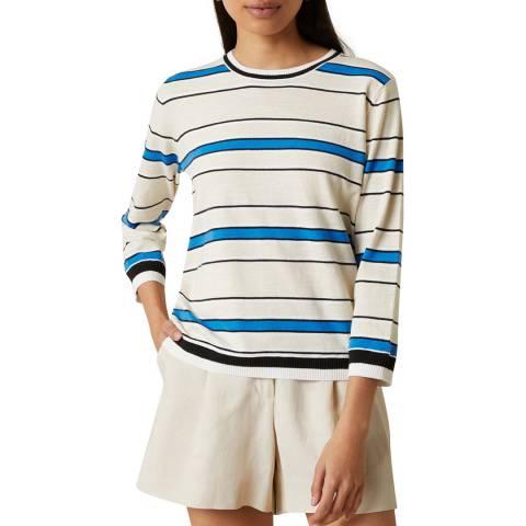 Jigsaw Blue Striped Cotton Slub Jumper