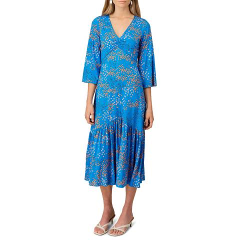 Jigsaw Blue Print Ruched Dress
