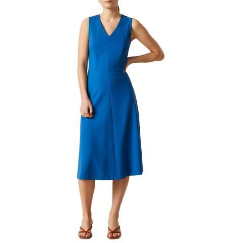 Jigsaw Blue V Neck Ponte Dress