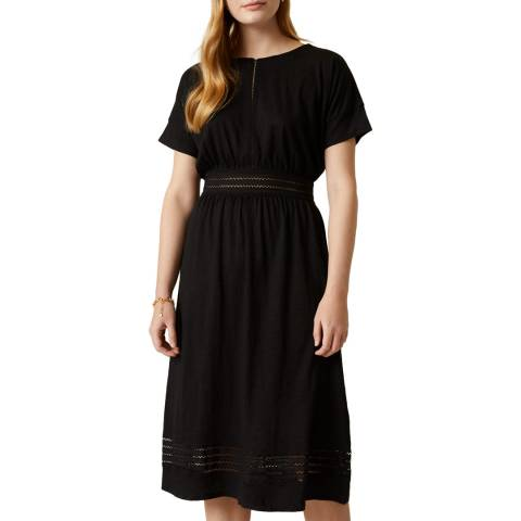 Jigsaw Black Linen And Lace Jersey Dress