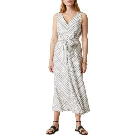 Jigsaw Ivory Linen V Neck Chevron Dress