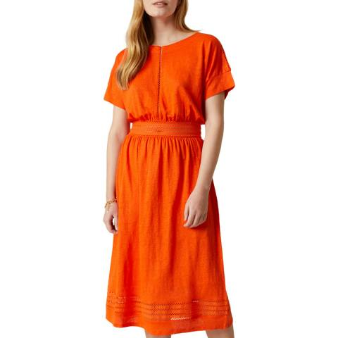 Jigsaw Orange Lace Jersey Dress