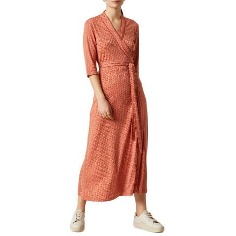 Jigsaw Coral Petal Geo Wrap Jersey Dress